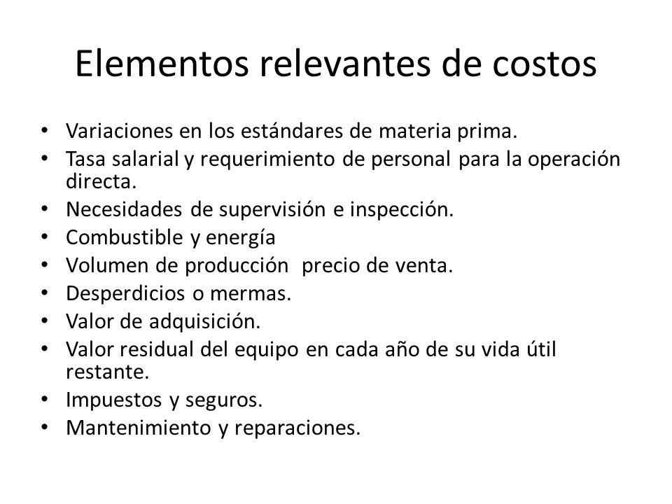 Elementos relevantes de costos