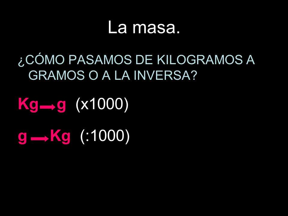 La masa. ¿CÓMO PASAMOS DE KILOGRAMOS A GRAMOS O A LA INVERSA Kg g (x1000) g Kg (:1000)