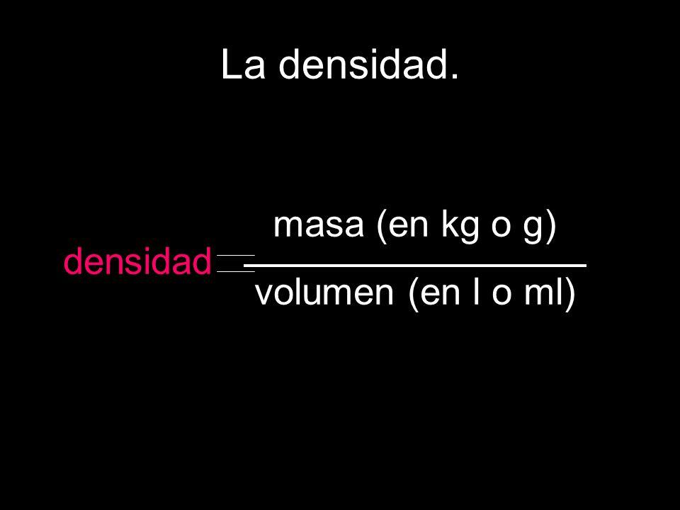 La densidad. masa (en kg o g) volumen (en l o ml) densidad