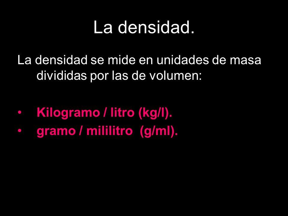 La densidad. La densidad se mide en unidades de masa divididas por las de volumen: Kilogramo / litro (kg/l).