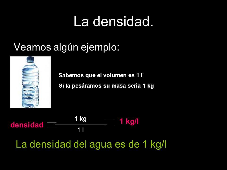 La densidad. Veamos algún ejemplo: La densidad del agua es de 1 kg/l