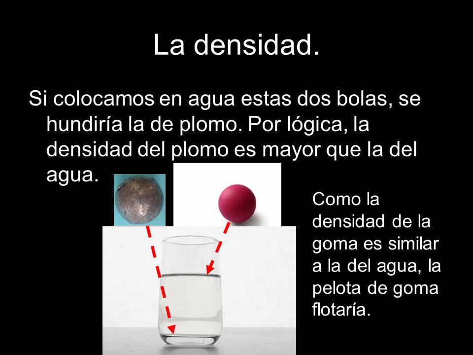 La densidad. Si colocamos en agua estas dos bolas, se hundiría la de plomo. Por lógica, la densidad del plomo es mayor que la del agua.