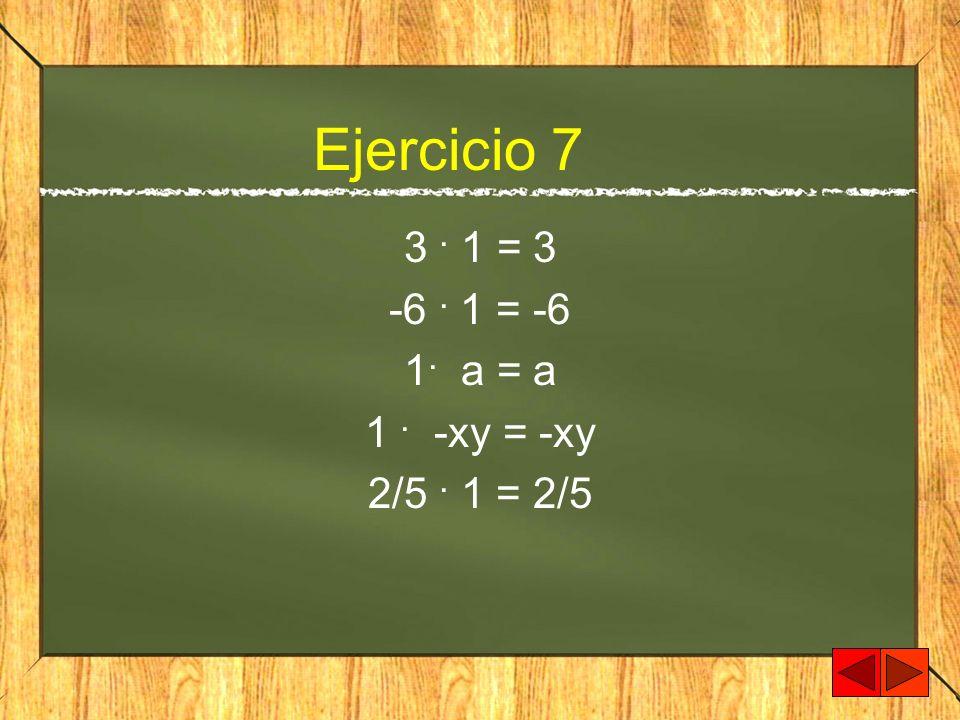 Ejercicio 7 3 . 1 = 3 -6 . 1 = -6 1. a = a 1 . -xy = -xy 2/5 . 1 = 2/5