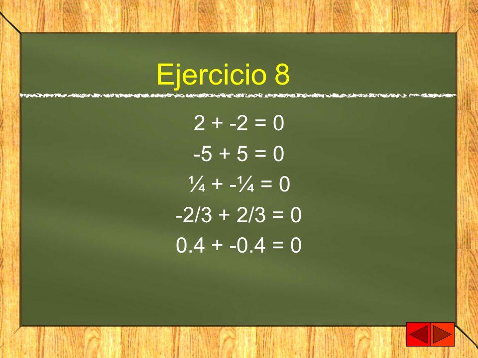 Ejercicio 8 2 + -2 = 0 -5 + 5 = 0 ¼ + -¼ = 0 -2/3 + 2/3 = 0