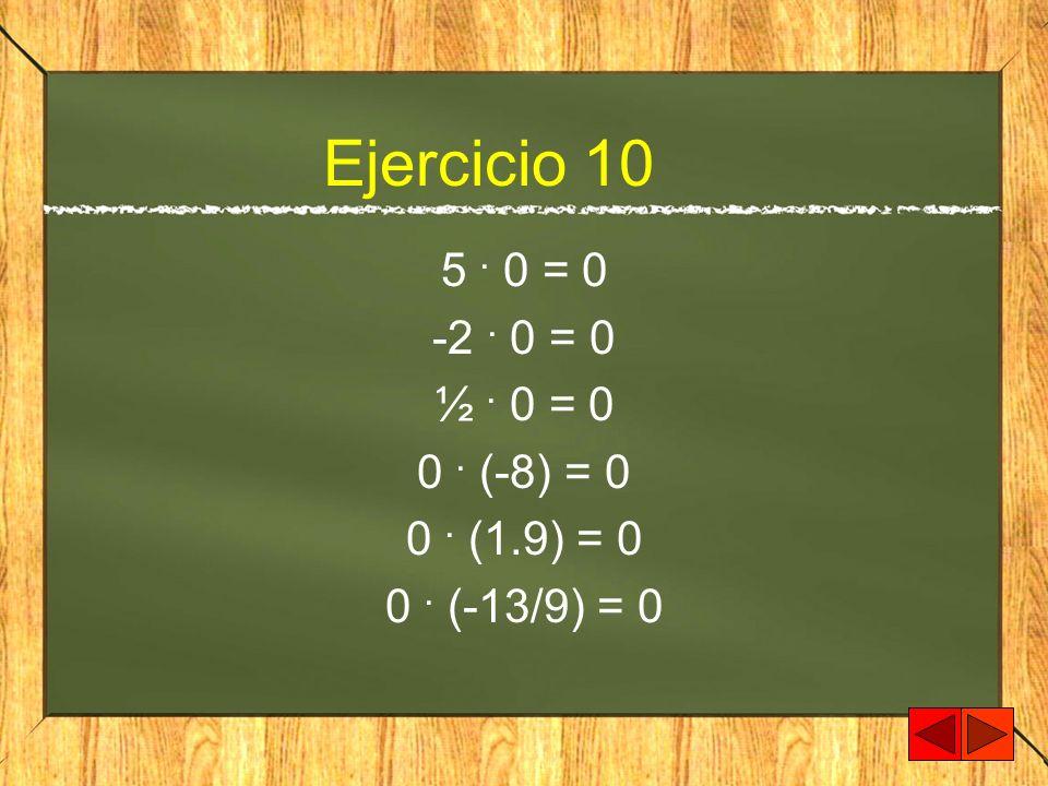 Ejercicio 10 5 . 0 = 0 -2 . 0 = 0 ½ . 0 = 0 0 . (-8) = 0 0 . (1.9) = 0