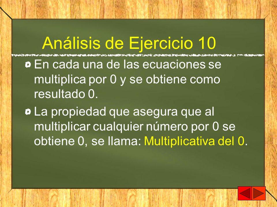 Análisis de Ejercicio 10 En cada una de las ecuaciones se multiplica por 0 y se obtiene como resultado 0.