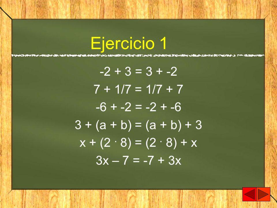 Ejercicio 1 -2 + 3 = 3 + -2 7 + 1/7 = 1/7 + 7 -6 + -2 = -2 + -6