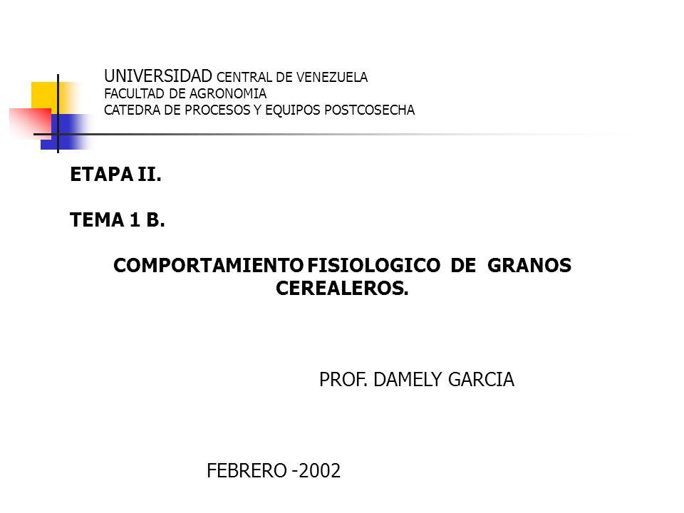 COMPORTAMIENTO FISIOLOGICO DE GRANOS CEREALEROS.