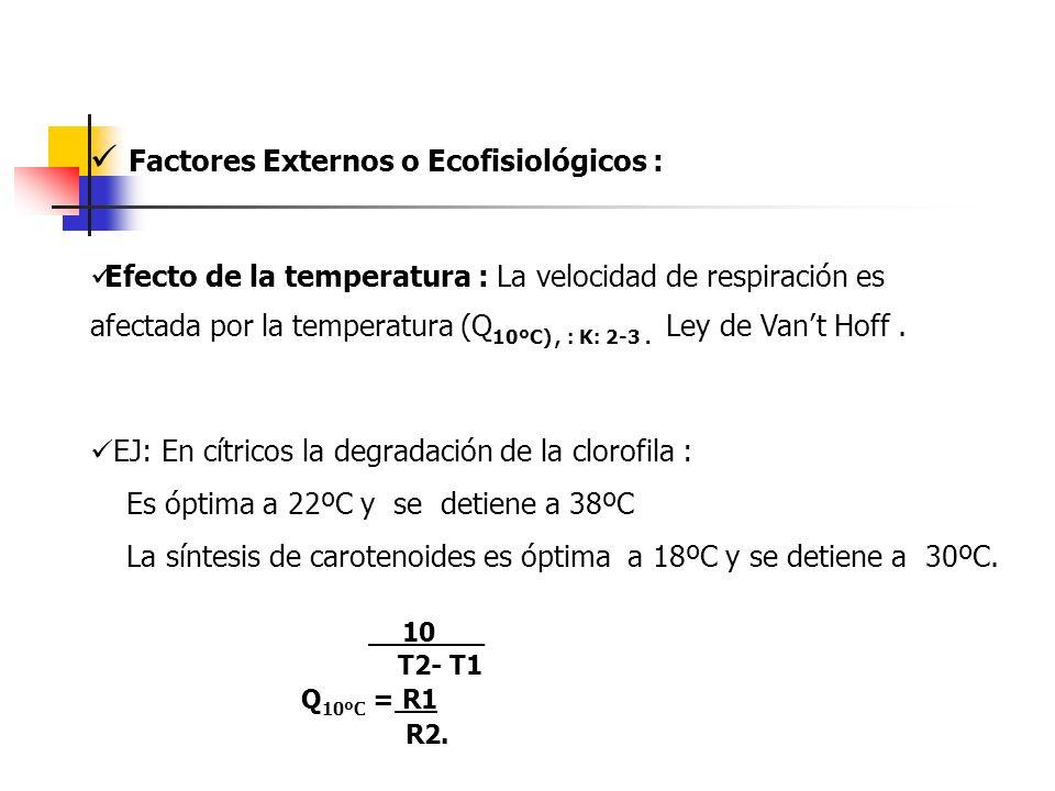  Factores Externos o Ecofisiológicos :