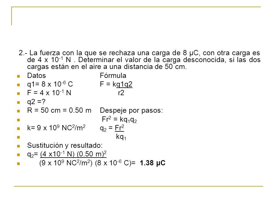 2.- La fuerza con la que se rechaza una carga de 8 μC, con otra carga es de 4 x 10-1 N . Determinar el valor de la carga desconocida, si las dos cargas están en el aire a una distancia de 50 cm.