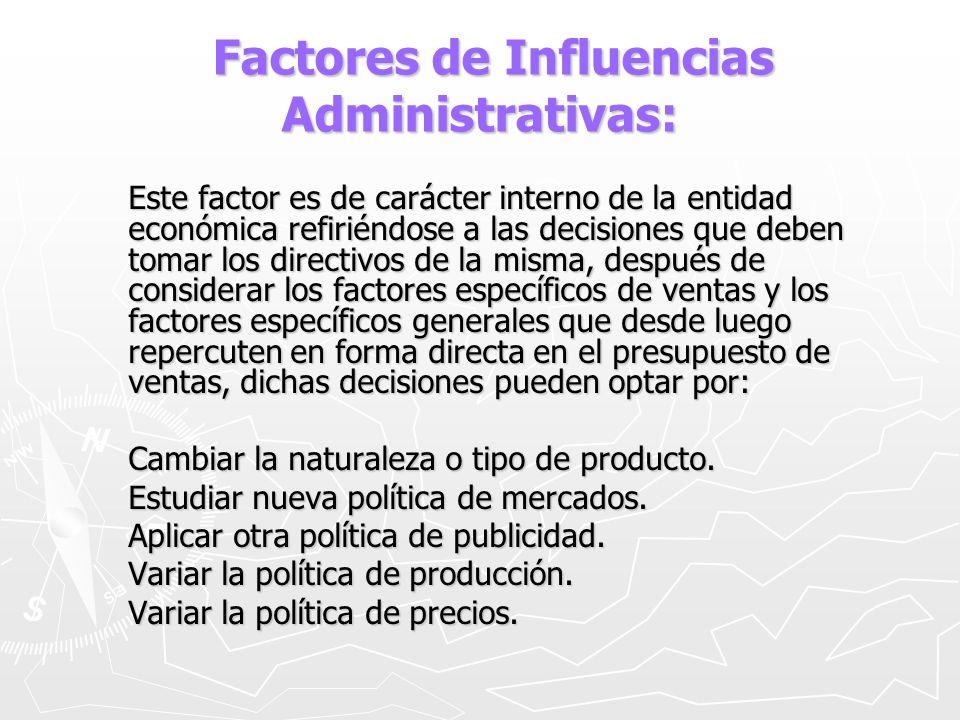 Factores de Influencias Administrativas: