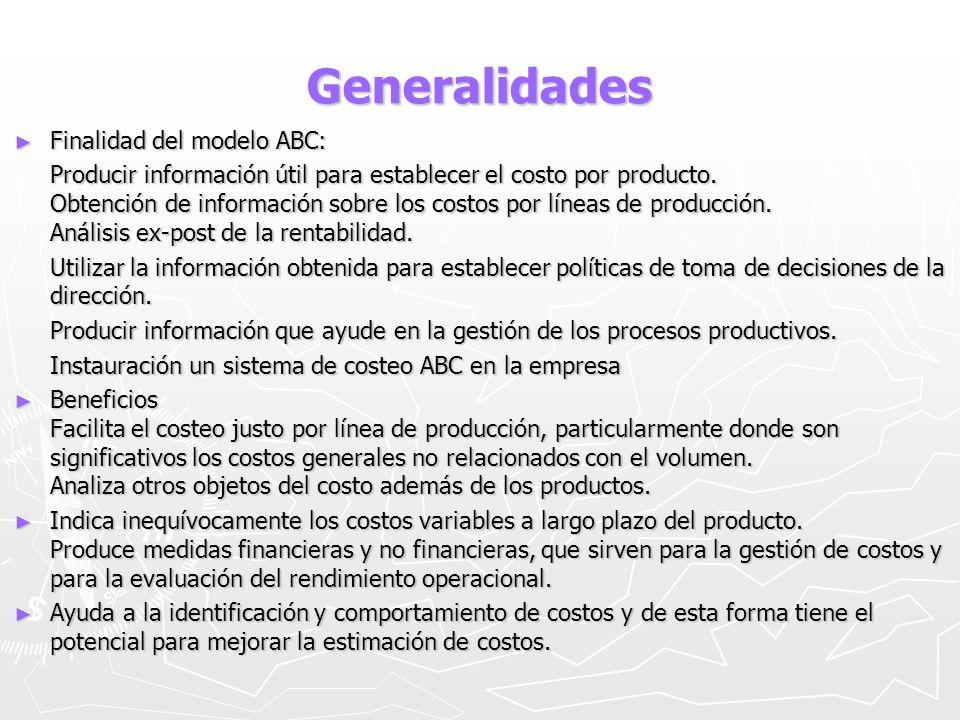 Generalidades Finalidad del modelo ABC: