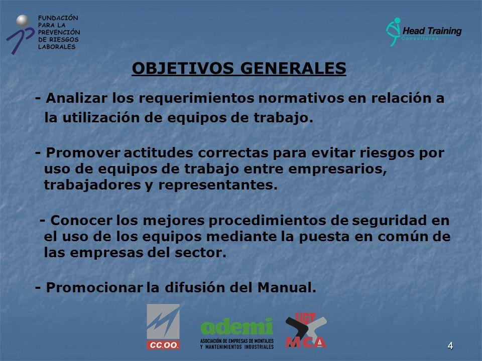 OBJETIVOS GENERALES - Analizar los requerimientos normativos en relación a. la utilización de equipos de trabajo.