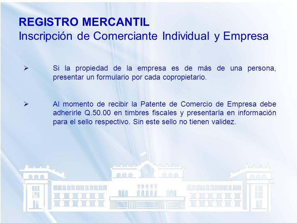 Inscripción de Comerciante Individual y Empresa