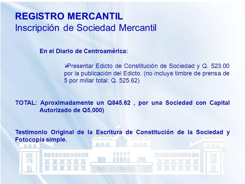 Inscripción de Sociedad Mercantil