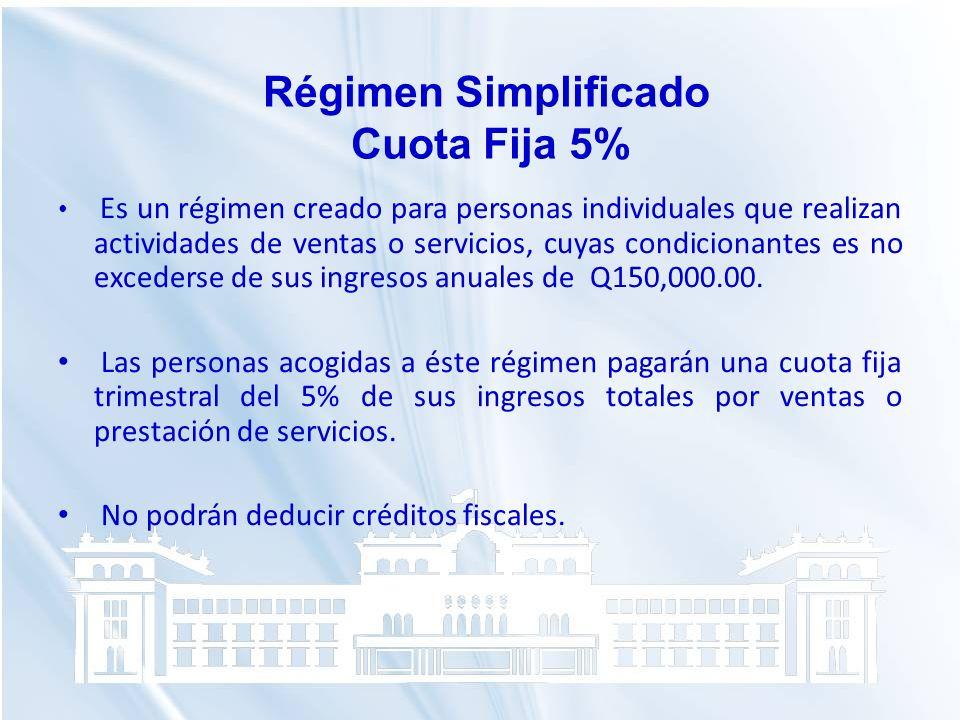 Régimen Simplificado Cuota Fija 5%