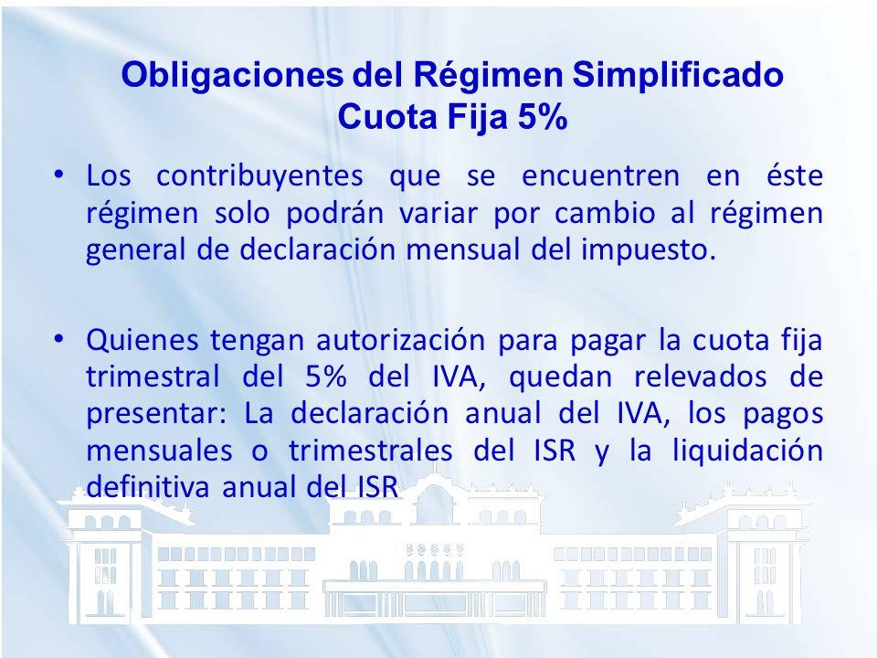 Obligaciones del Régimen Simplificado