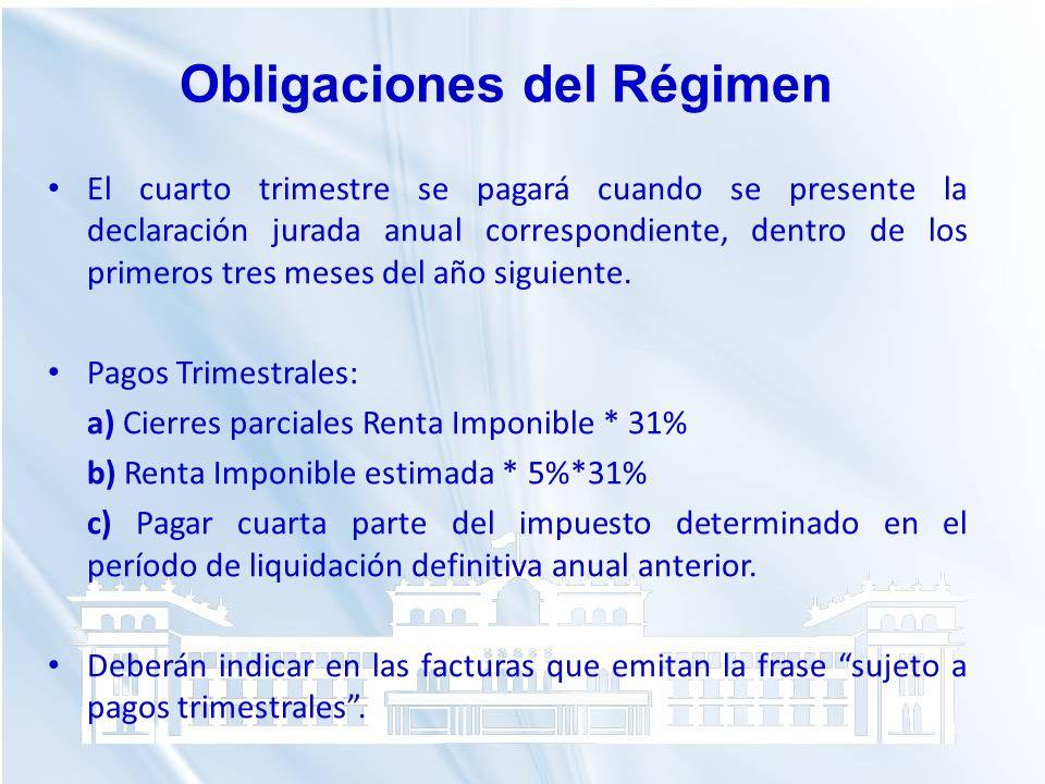 Obligaciones del Régimen
