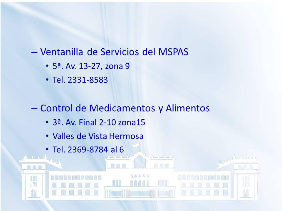 Ventanilla de Servicios del MSPAS