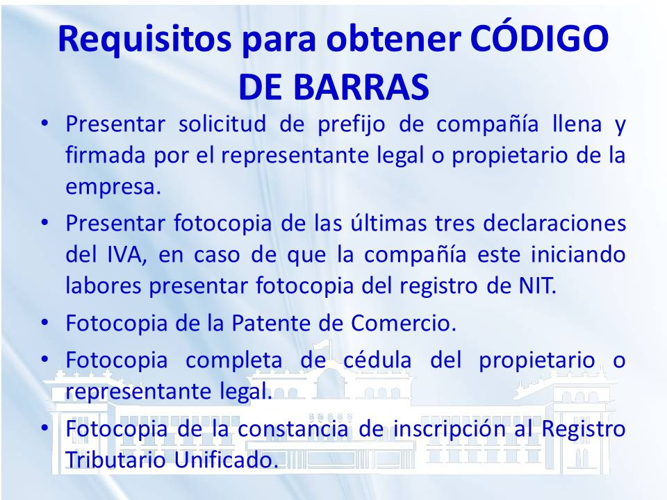 Requisitos para obtener CÓDIGO DE BARRAS