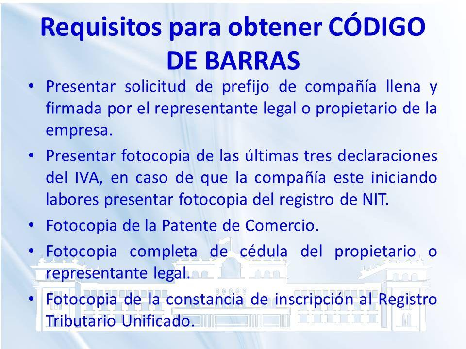 Requisitos para obtener CÓDIGO DE BARRAS