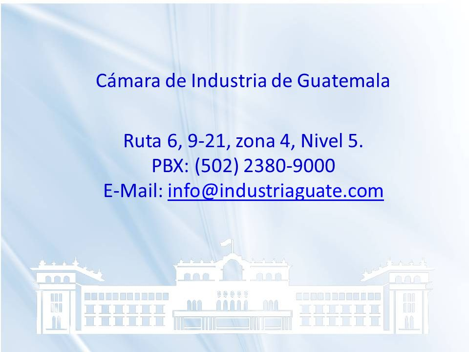 Cámara de Industria de Guatemala Ruta 6, 9-21, zona 4, Nivel 5