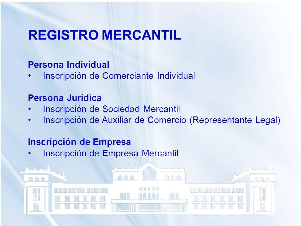 REGISTRO MERCANTIL Persona Individual