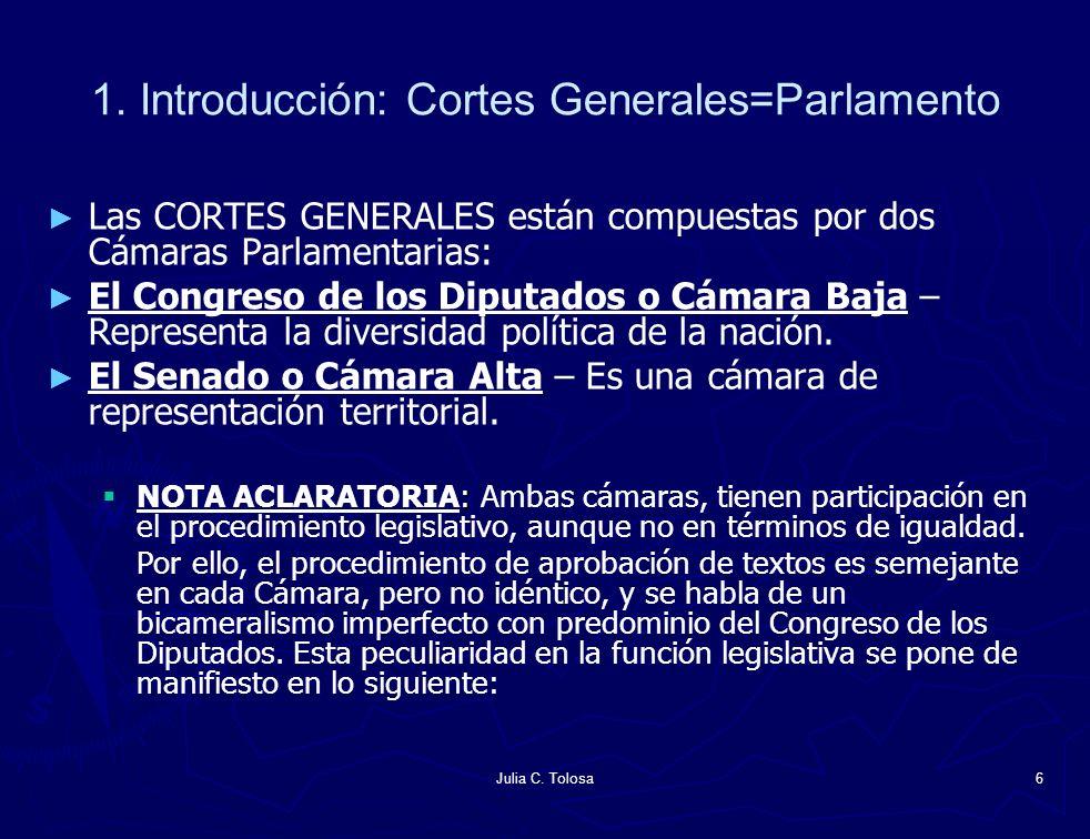 1. Introducción: Cortes Generales=Parlamento