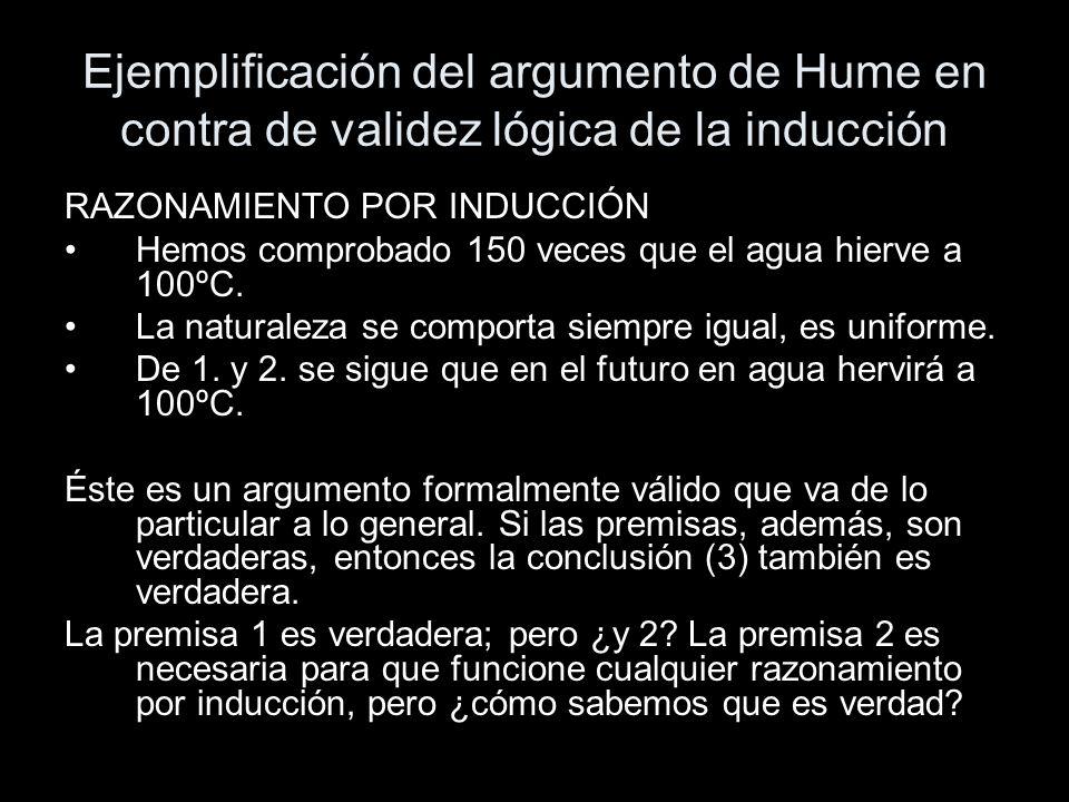 Ejemplificación del argumento de Hume en contra de validez lógica de la inducción