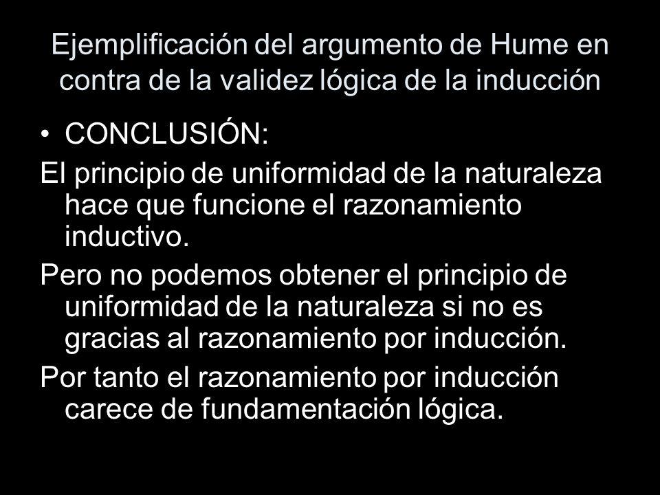 Ejemplificación del argumento de Hume en contra de la validez lógica de la inducción