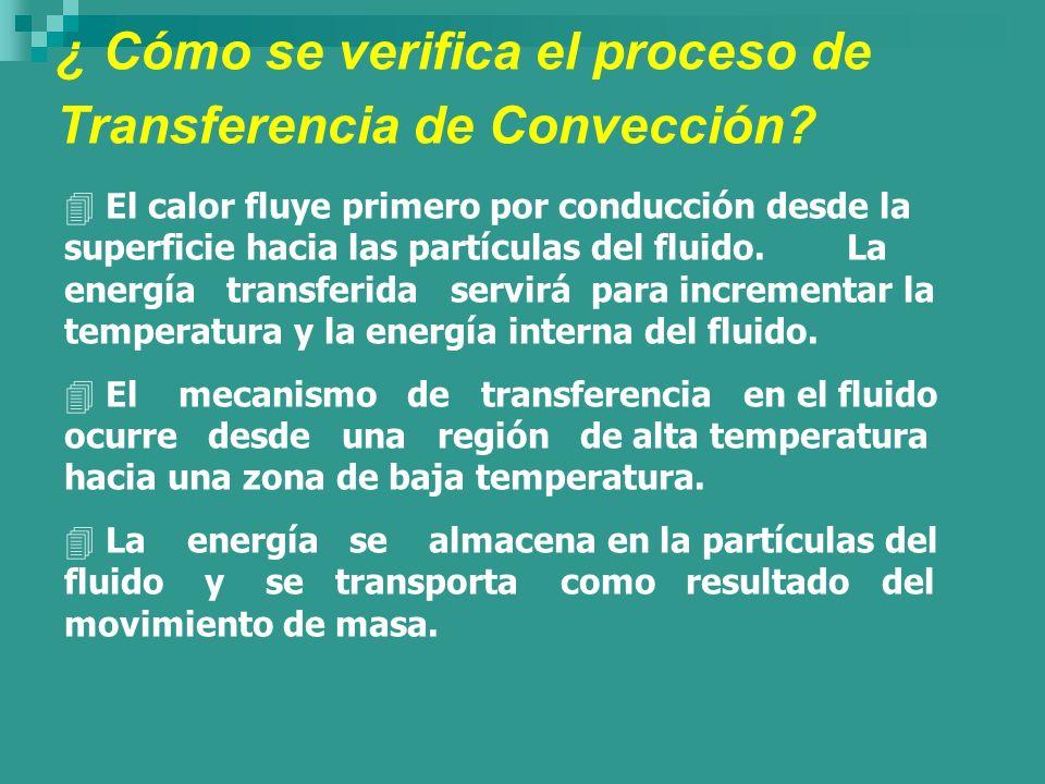 ¿ Cómo se verifica el proceso de Transferencia de Convección