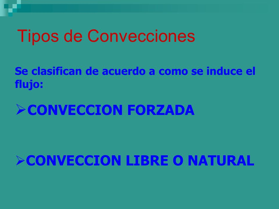 Tipos de Convecciones CONVECCION FORZADA CONVECCION LIBRE O NATURAL