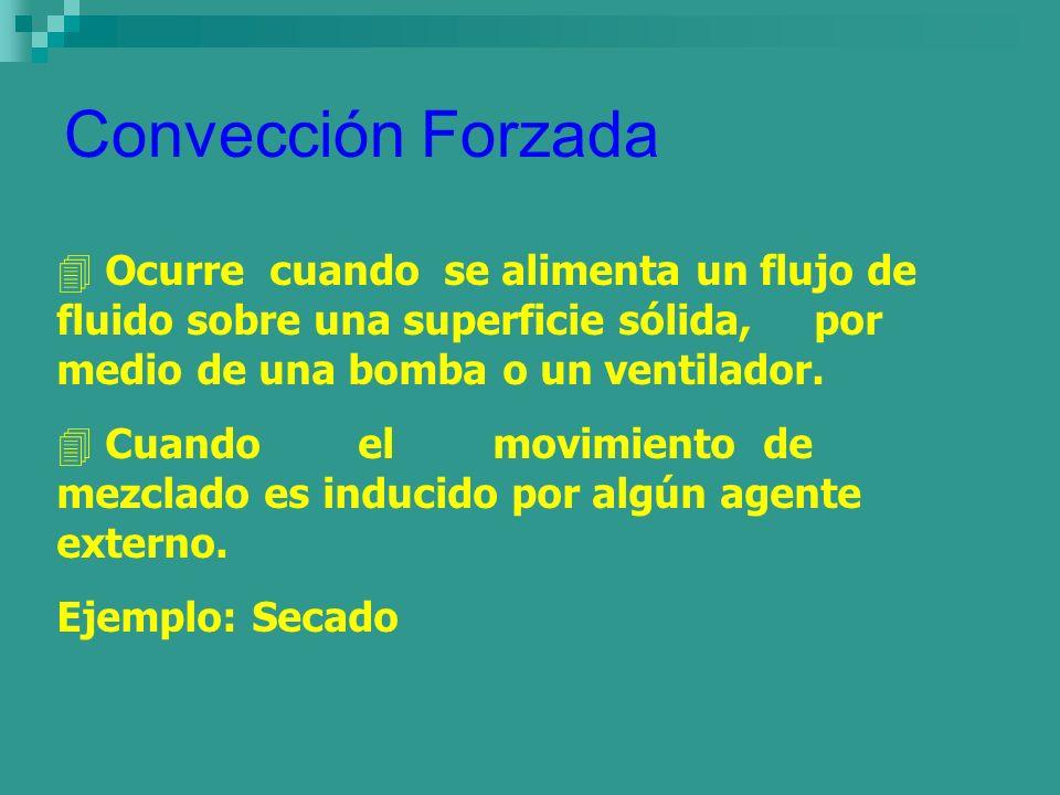 Convección ForzadaOcurre cuando se alimenta un flujo de fluido sobre una superficie sólida, por medio de una bomba o un ventilador.