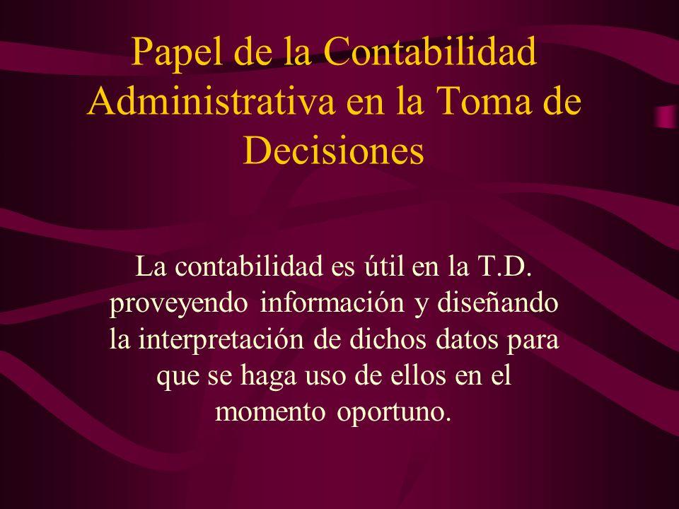 Papel de la Contabilidad Administrativa en la Toma de Decisiones