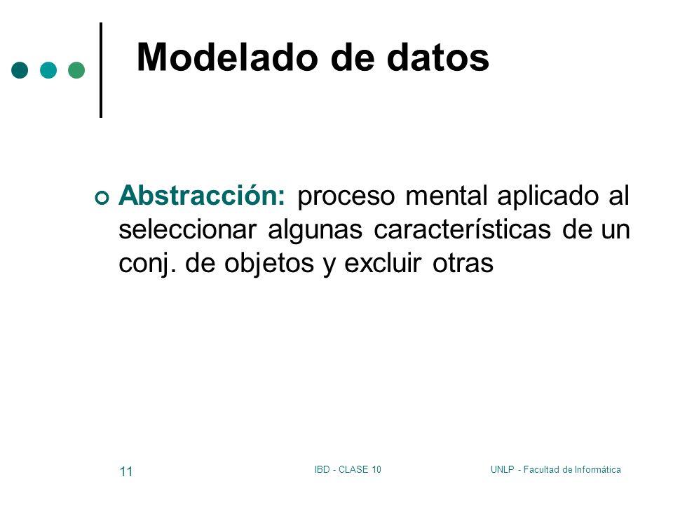 Modelado de datos Abstracción: proceso mental aplicado al seleccionar algunas características de un conj. de objetos y excluir otras.