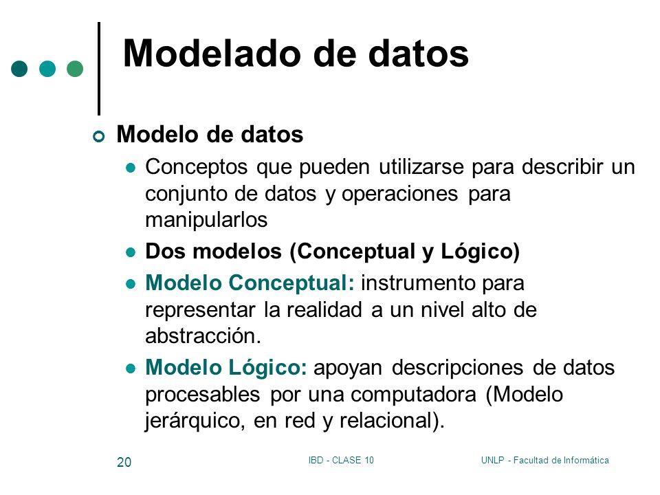 Modelado de datos Modelo de datos