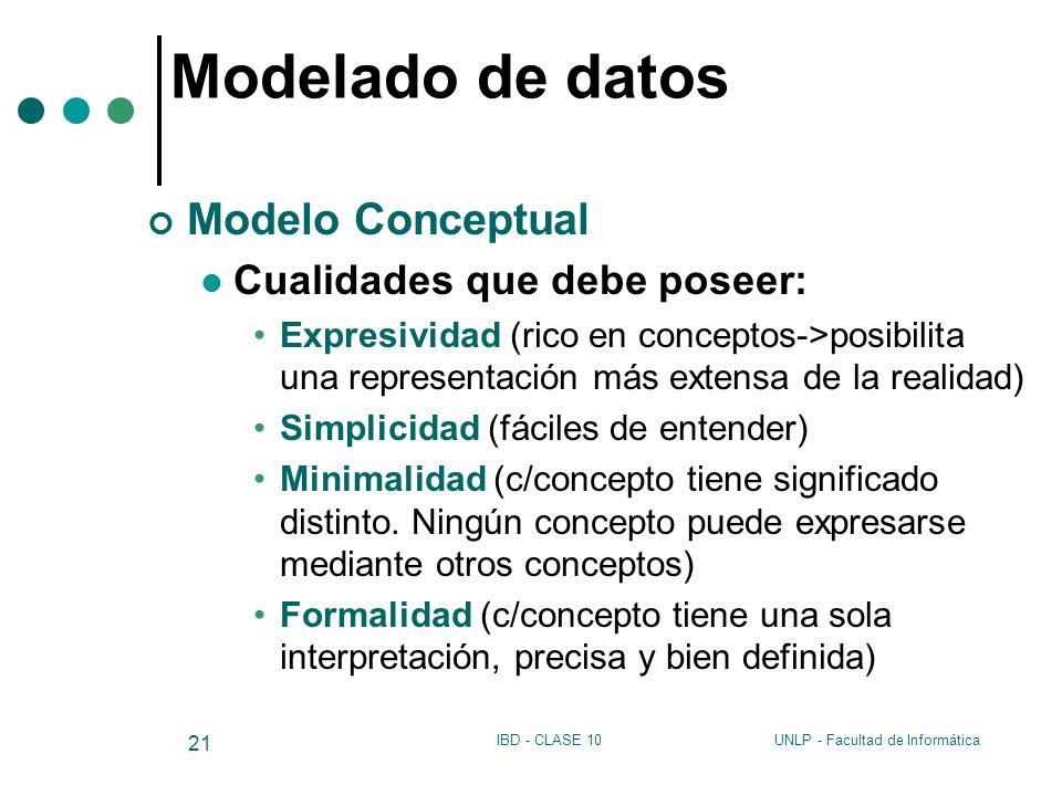 Modelado de datos Modelo Conceptual Cualidades que debe poseer: