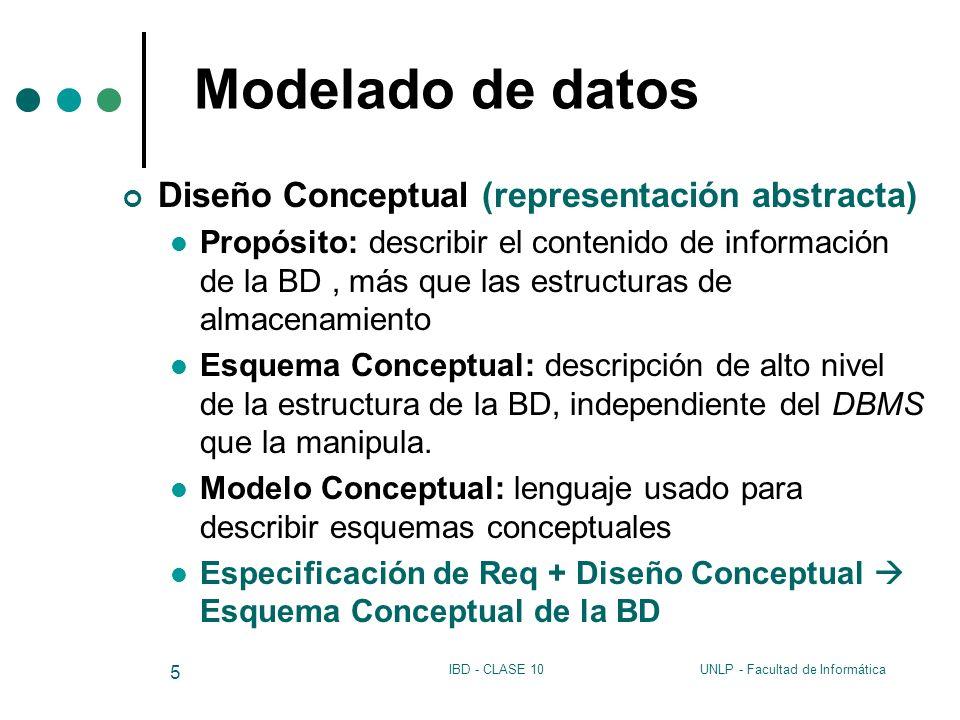 Modelado de datos Diseño Conceptual (representación abstracta)