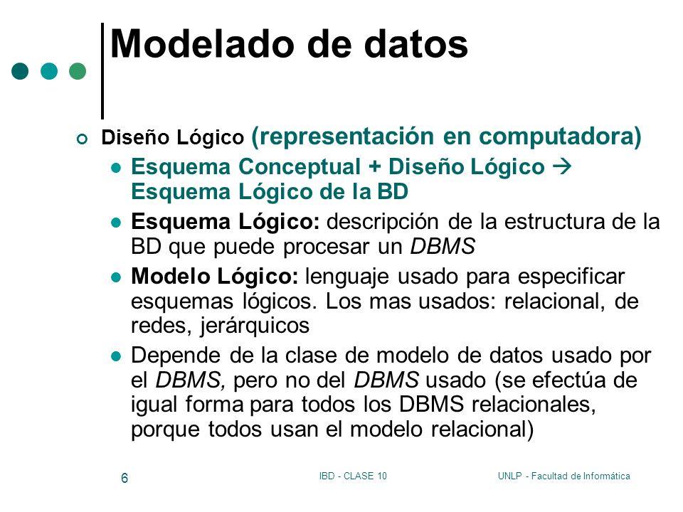 Modelado de datos Diseño Lógico (representación en computadora) Esquema Conceptual + Diseño Lógico  Esquema Lógico de la BD.