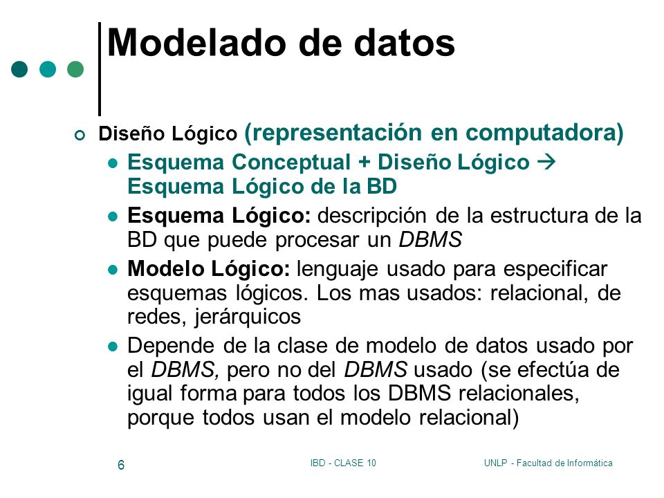 Modelado de datosDiseño Lógico (representación en computadora) Esquema Conceptual + Diseño Lógico  Esquema Lógico de la BD.