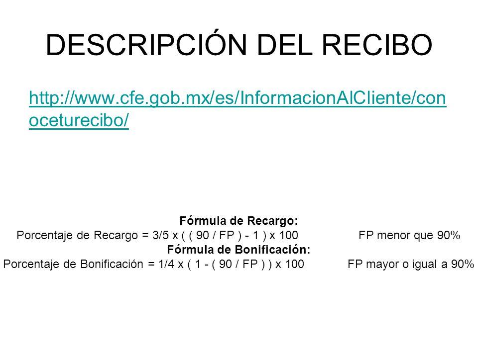 DESCRIPCIÓN DEL RECIBO