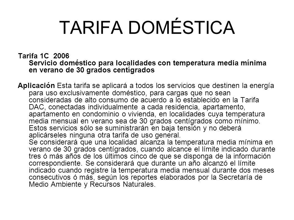TARIFA DOMÉSTICA Tarifa 1C 2006 Servicio doméstico para localidades con temperatura media mínima en verano de 30 grados centígrados.