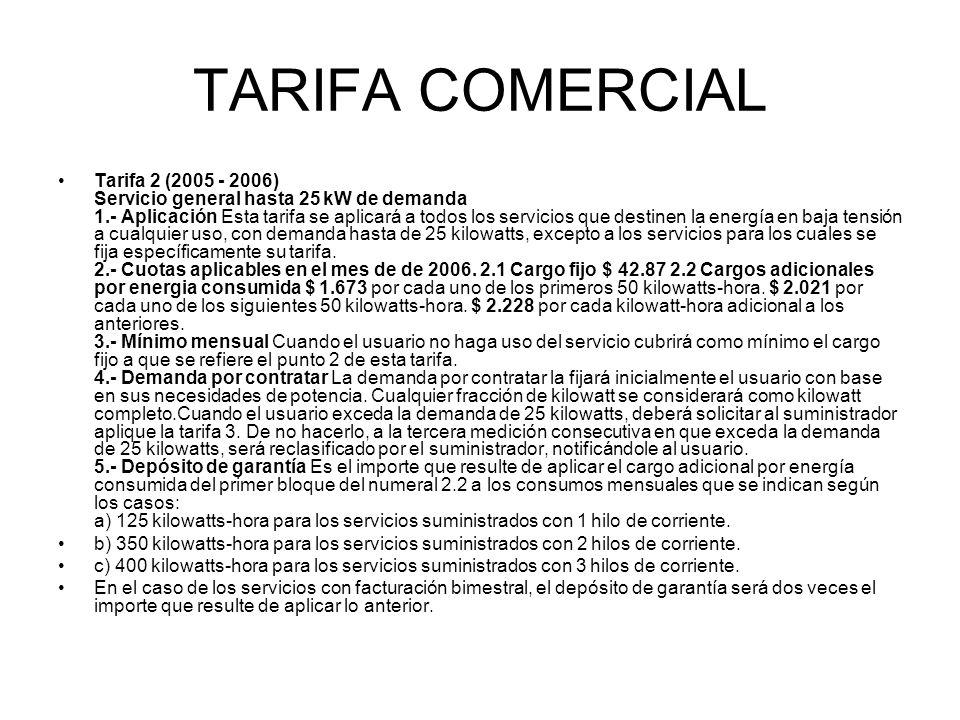 TARIFA COMERCIAL