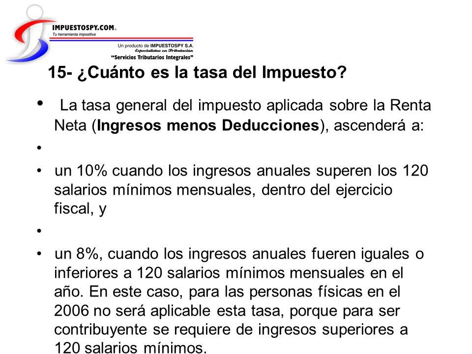 15- ¿Cuánto es la tasa del Impuesto