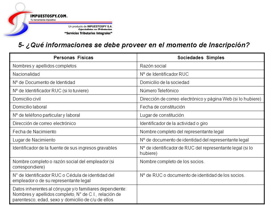5- ¿Qué informaciones se debe proveer en el momento de Inscripción