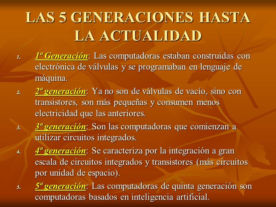LAS 5 GENERACIONES HASTA LA ACTUALIDAD