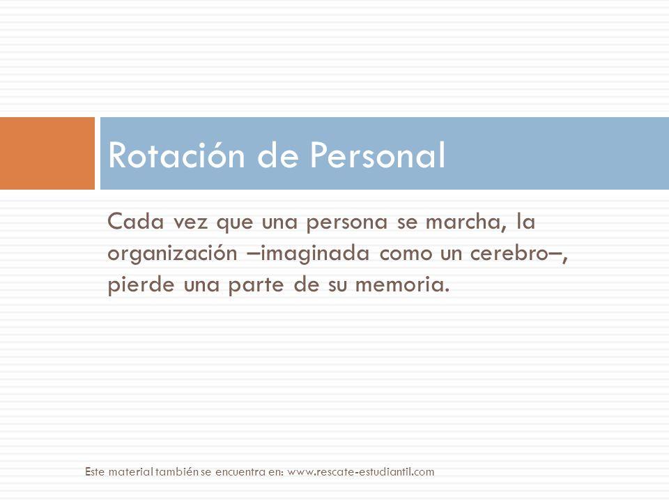 Rotación de Personal Cada vez que una persona se marcha, la organización –imaginada como un cerebro–, pierde una parte de su memoria.