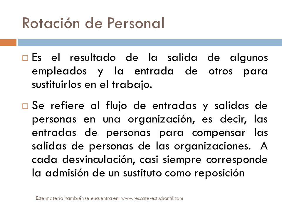 Rotación de Personal Es el resultado de la salida de algunos empleados y la entrada de otros para sustituirlos en el trabajo.