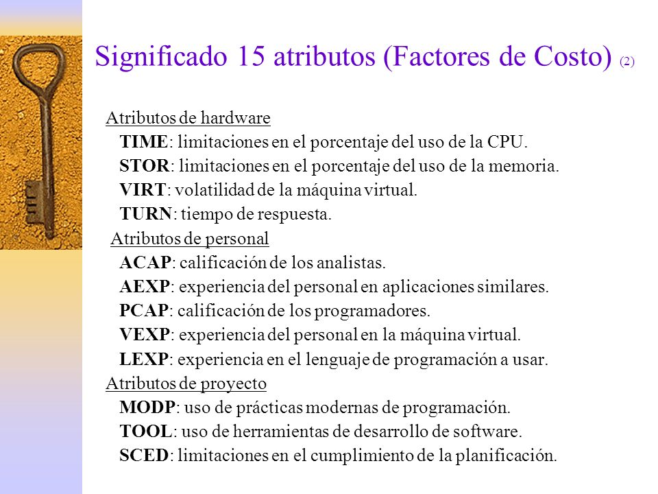 Significado 15 atributos (Factores de Costo) (2)