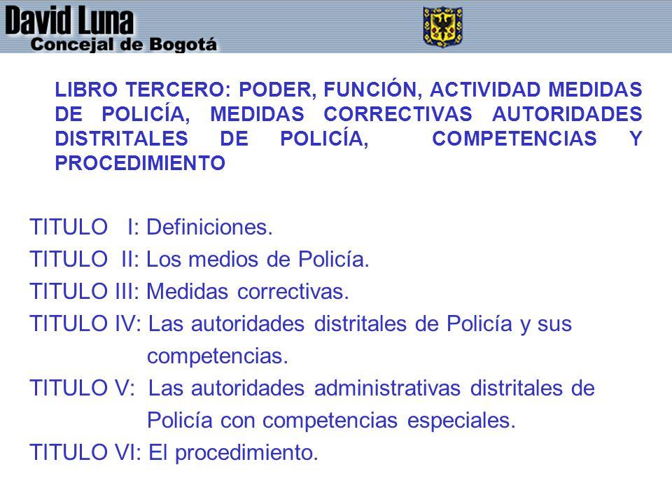 TITULO I: Definiciones. TITULO II: Los medios de Policía.